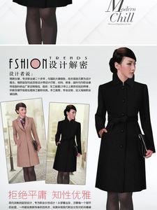 秋冬新款韓版羊毛呢風衣OL氣質修身時尚職業翻領大衣